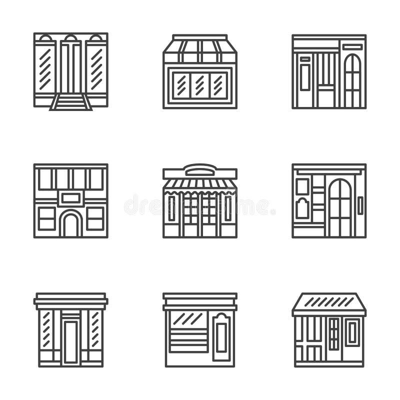 Opslag en koffiepictogrammen van de voorzijden de vlakke lijn stock illustratie