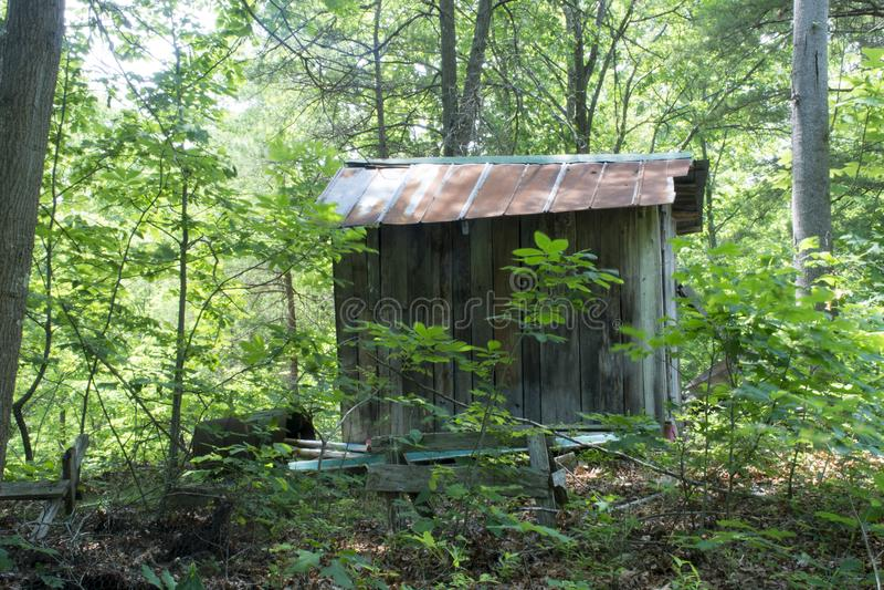 Opslag in het bos wordt afgeworpen dat stock afbeelding