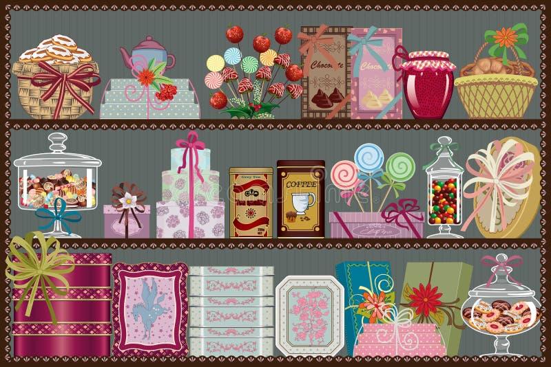 Opslag van snoepjes en chocolade vector illustratie