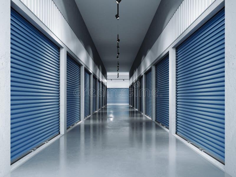 Opslagfaciliteiten met blauwe deuren het 3d teruggeven royalty-vrije stock foto's
