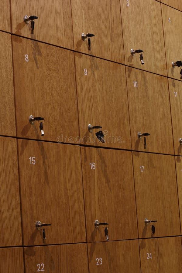 Opslagruimte houten kasten royalty-vrije stock fotografie
