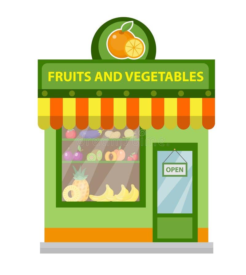 Opslagvruchten en groenten De winkelbouw die op witte achtergrond wordt geïsoleerd Vector illustratie stock illustratie