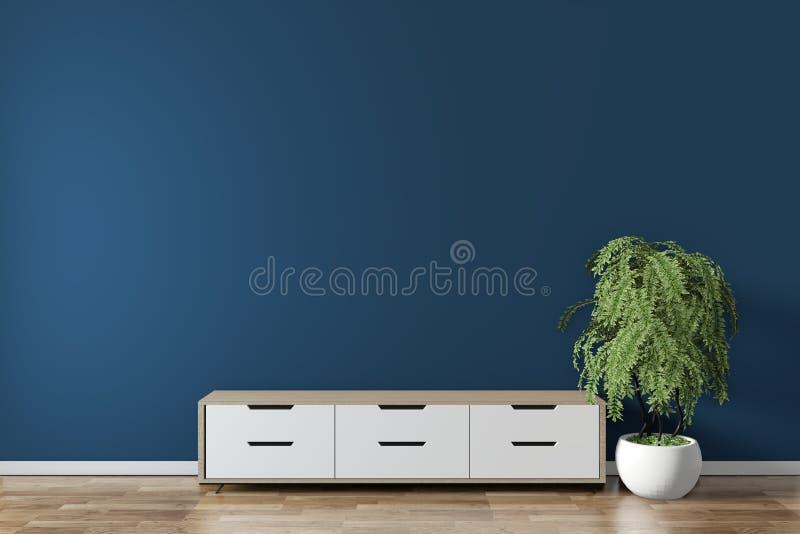 Opsluiten - kast op donkerblauw op vloer houten minimale vormgeving 3D-rendering vector illustratie