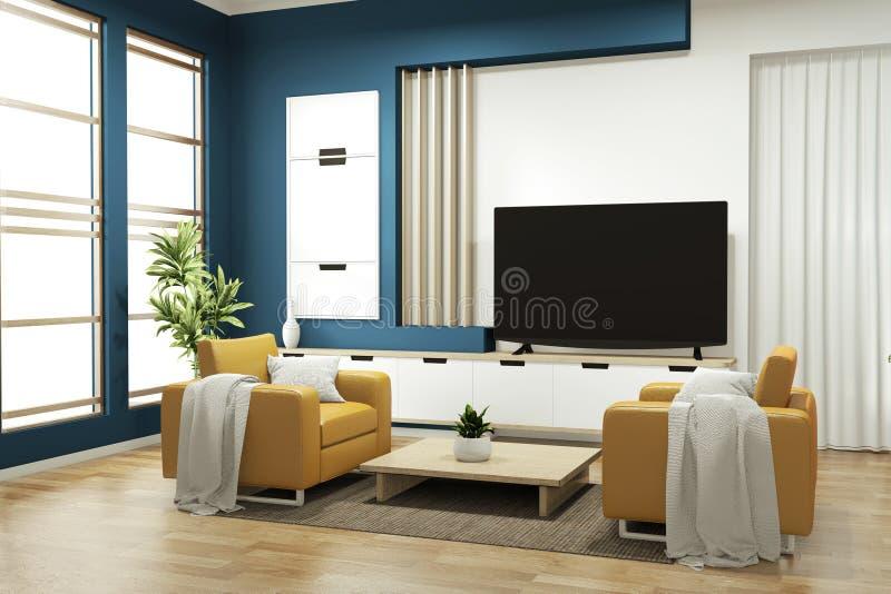 Opsluiten - kast op donkerblauw op vloer houten minimale vormgeving 3D-rendering stock illustratie