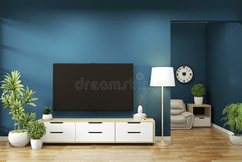 Opsluiten - kast op donkerblauw op vloer houten minimale vormgeving 3D-rendering royalty-vrije illustratie
