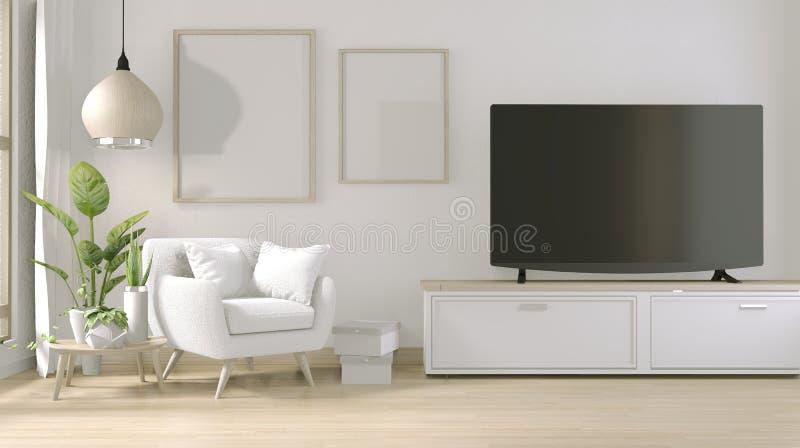 Opsluiten - TV op stand-kast in moderne woonkamer met armstoel en decoratie-installaties 3D-rendering vector illustratie