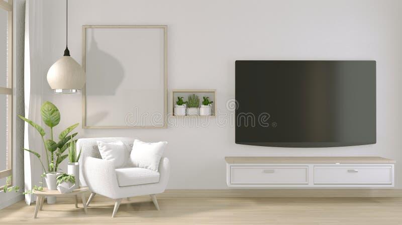 Opsluiten - TV op stand-kast in moderne woonkamer met armstoel en decoratie-installaties 3D-rendering royalty-vrije illustratie