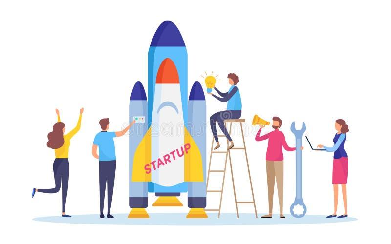 Opstarten het project Voer uw bedrijfsconcept op Lancering de bedrijfs van mensen de raket De vlakke vector van de beeldverhaalil royalty-vrije illustratie