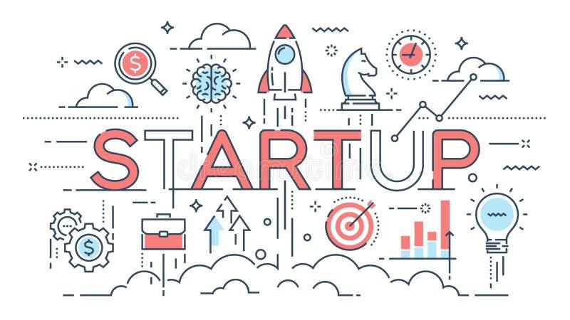 Opstarten, ideeën en nieuwe zaken, ontwikkeling, thi van de projectlancering stock illustratie