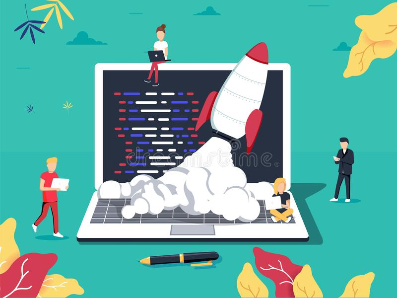 Opstarten, programmeur, bedrijfsproject, idee, projectleiding Vlakke ontwerp vectorillustratie royalty-vrije illustratie