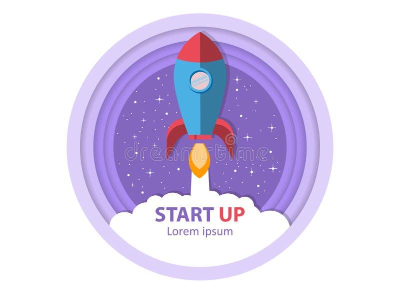 Opstarten Stijg de raket op Symbool van succesvol bedrijfsbegin stock illustratie