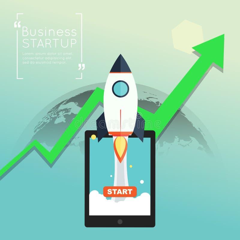 Opstarten van bedrijven met groene pijl op symboolillustratie vector illustratie