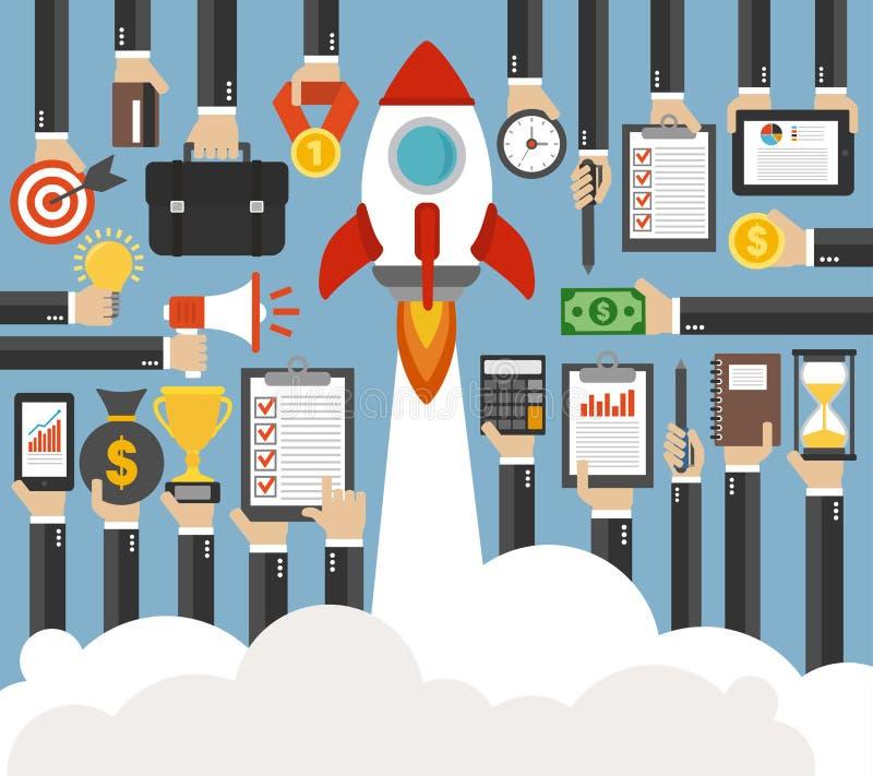 Opstarten van bedrijvenconcept met de Raket Vlak Ontwerp royalty-vrije illustratie