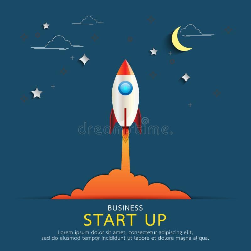 Opstarten van bedrijvenconcept Raketstijl in vlak lijn en document kunstontwerp stock illustratie