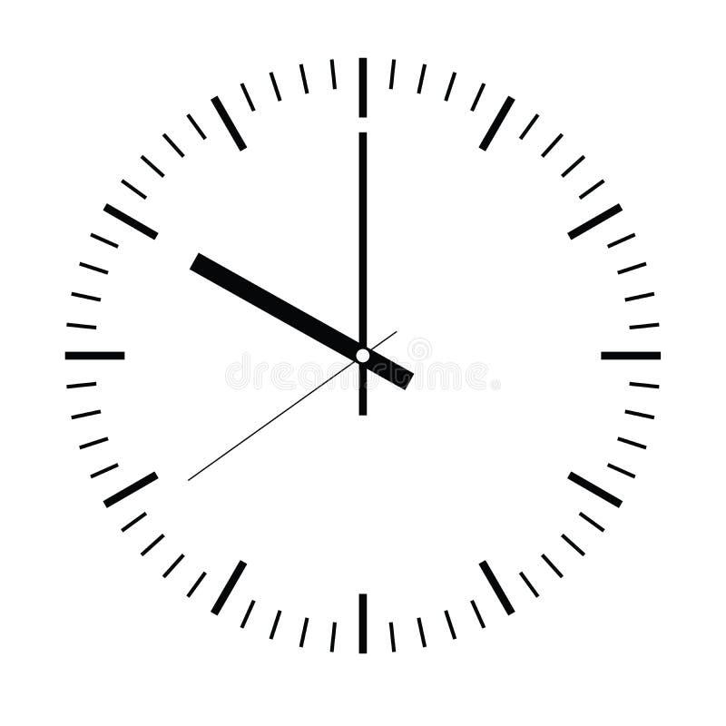 Opstelling uw tijd Lege uurwijzerplaat met uur, minuut en tweede hand De streepjes merken notulen en uren Eenvoudige vlakke vecto vector illustratie