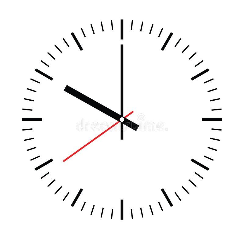 Opstelling uw tijd Lege uurwijzerplaat met uur, minuut en tweede hand De streepjes merken notulen en uren Eenvoudige vlakke vecto stock illustratie