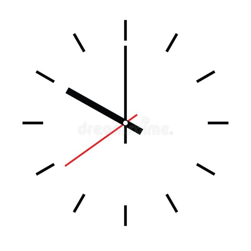 Opstelling uw tijd Lege uurwijzerplaat met uur, minuut en tweede hand De uren van het streepjesteken Eenvoudige vlakke vectorillu stock illustratie