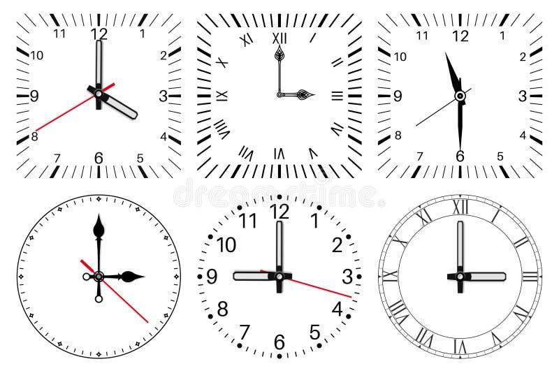 Opstelling uw tijd Ronde en vierkante reeks vector illustratie