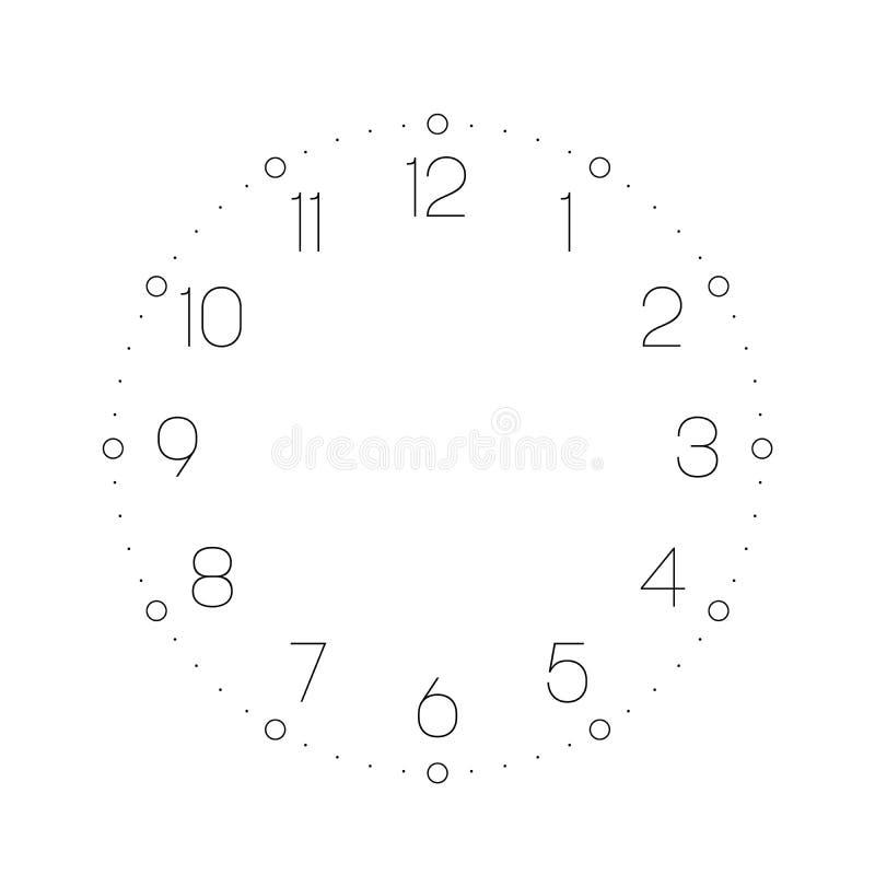 Opstelling uw tijd Uurwijzerplaat met aantallen De punten merken notulen en uren Eenvoudige vlakke vectorillustratie royalty-vrije illustratie