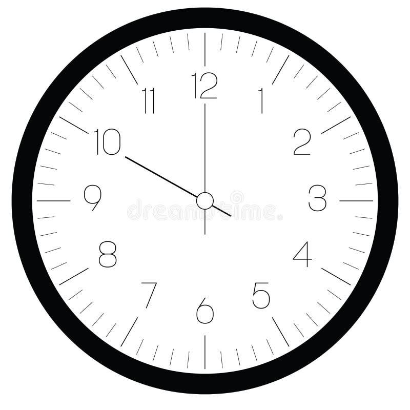 Opstelling uw tijd Uurwijzerplaat met aantallen en uur en minieme hand De streepjes merken notulen en uren Verdun overzichtsontwe vector illustratie