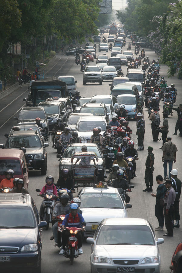 Opstopping in Djakarta Indonesië stock afbeelding