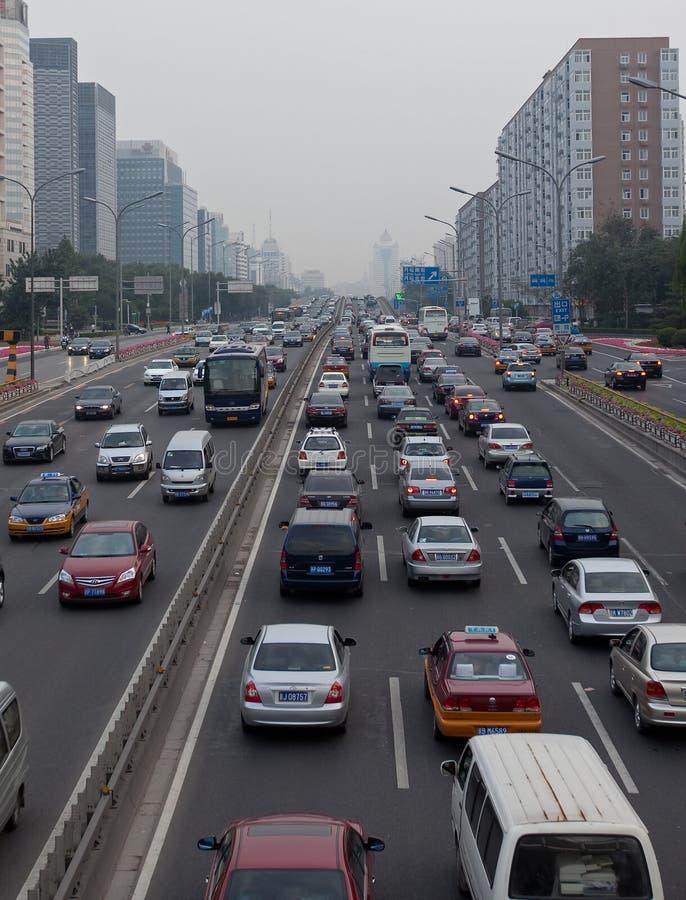 Opstopping in Peking, China stock foto