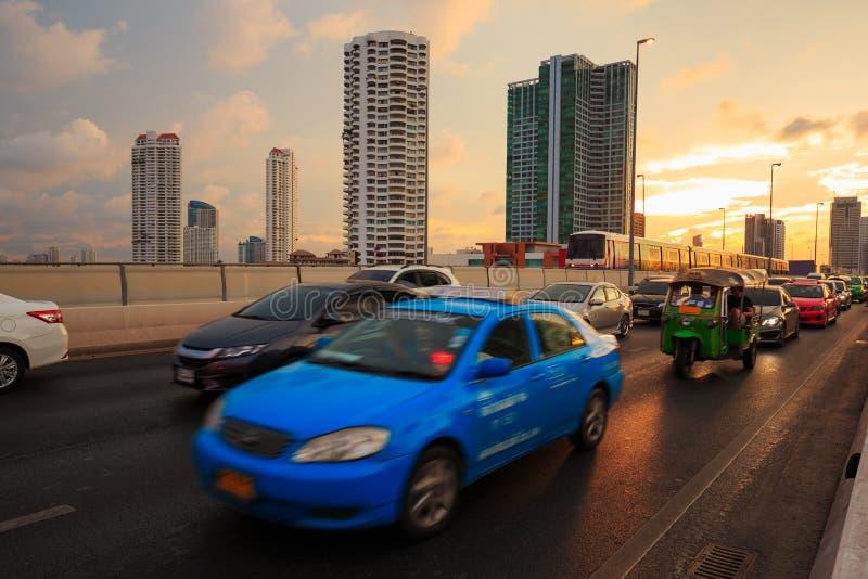 Opstoppingen in de stad Bangkok Thailand royalty-vrije stock afbeeldingen