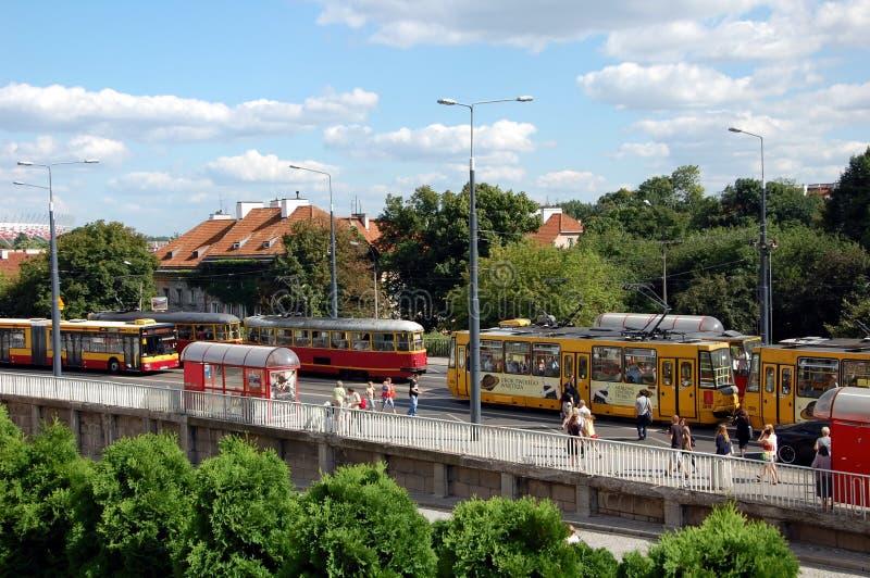 Opstoppingen van stadsvervoer stock foto's