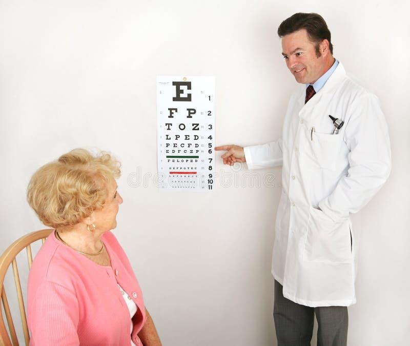 Optómetra que muestra la carta de ojo fotografía de archivo