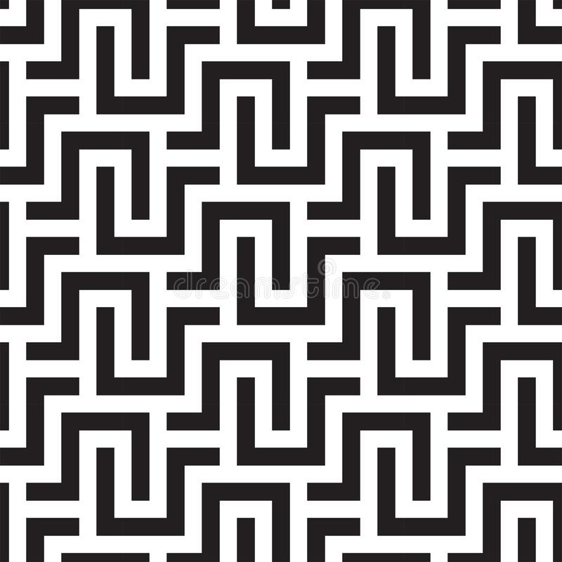 SQUARE LABYRINTH TEXTURE. MODERN STRIPED SEAMLESS VECTOR PATTERN. royalty free illustration