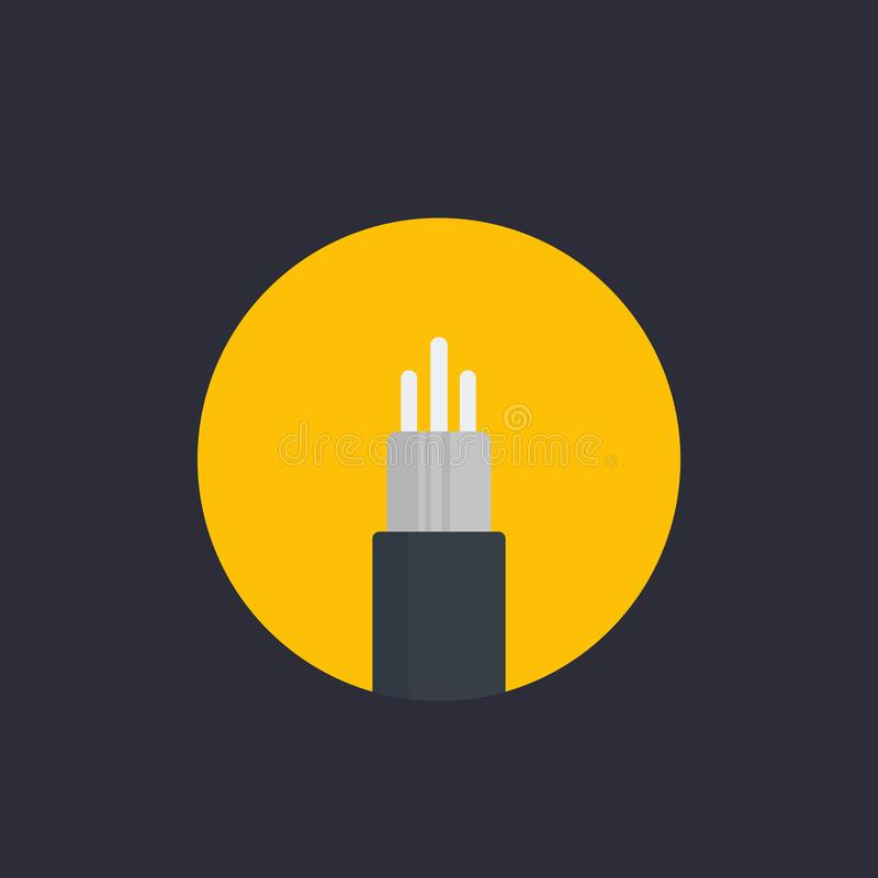 Optic fiber cable vector icon in flat style vector illustration