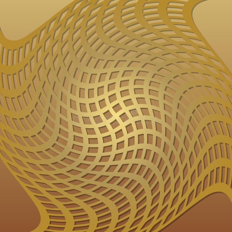 Optical Art Background With 3d Illusion, Deformed Golden Grid, Low ...