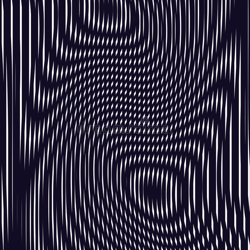 Optical background with monochrome geometric lines. Moire pattern vector illustration