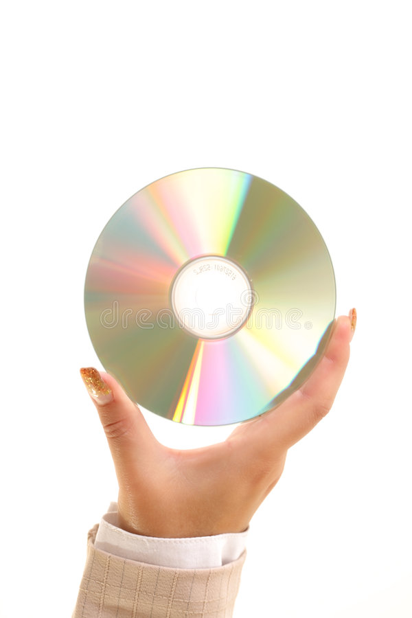 Optical disc. In woman's hand stock photography