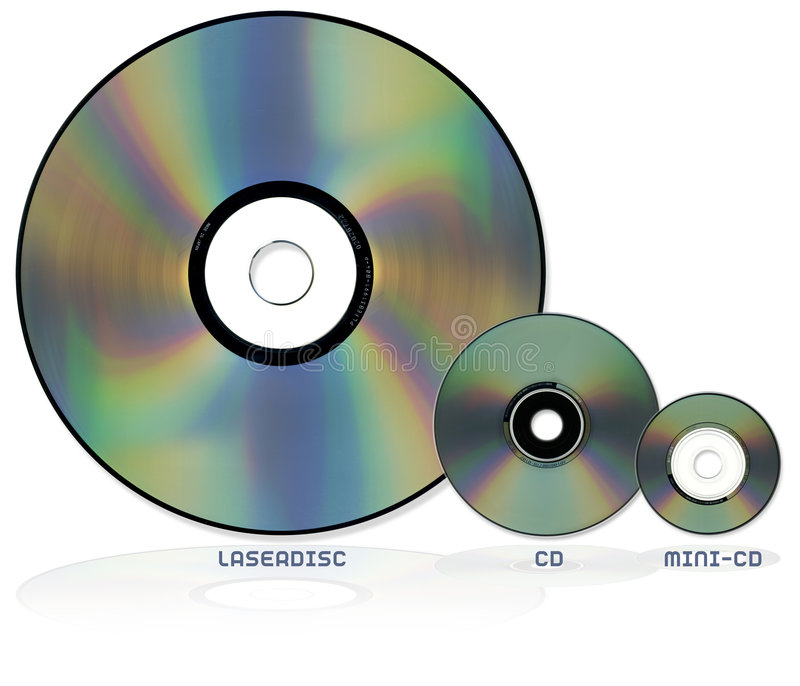 Optical disc formats. Selection of optical disc formats including Laserdisc CD and Mini CD all show to scale royalty free stock photos
