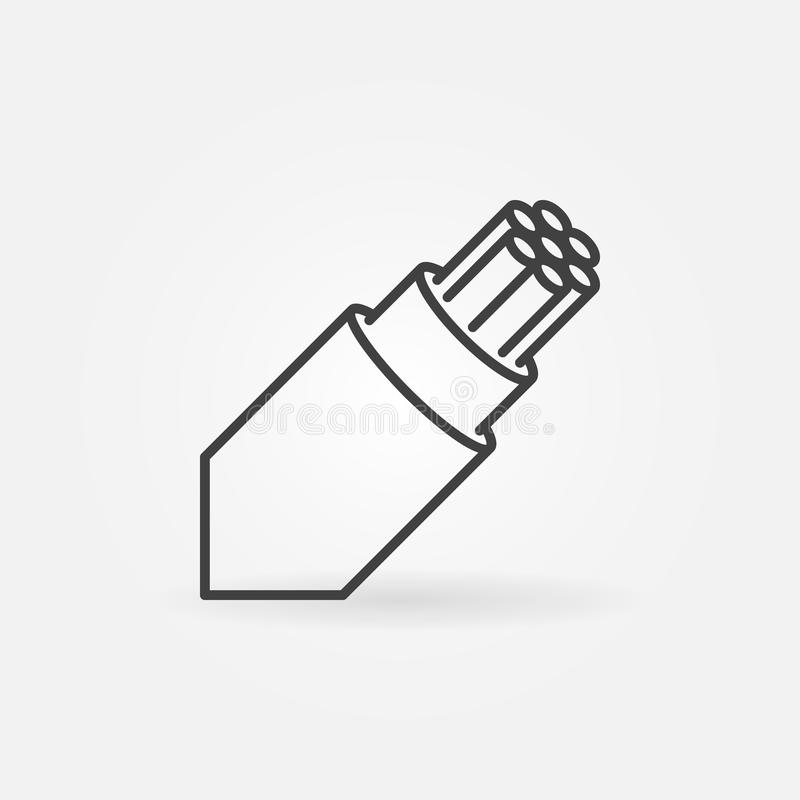 Optical fiber breakout cable vector outline icon stock illustration