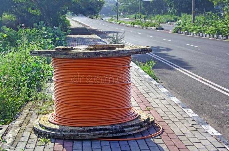 Optical Fiber Cable Drum royalty free stock photos