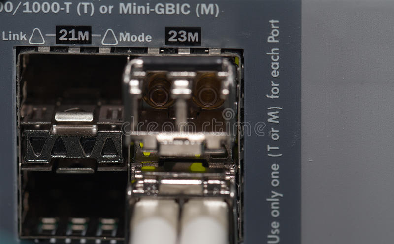 Optical fiber connection on a Server royalty free stock images