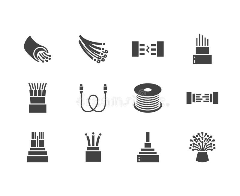 Optical fiber flat glyph icons. Network connection, computer wire, cable bobbin, data transfer. Signs for electronics. Store, internet services. Solid stock illustration
