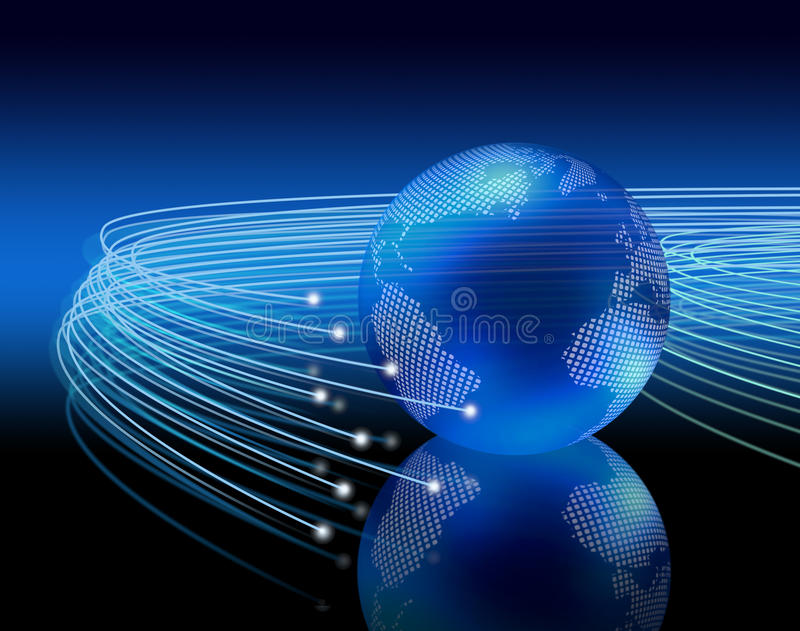 Optical fibres around earth royalty free illustration