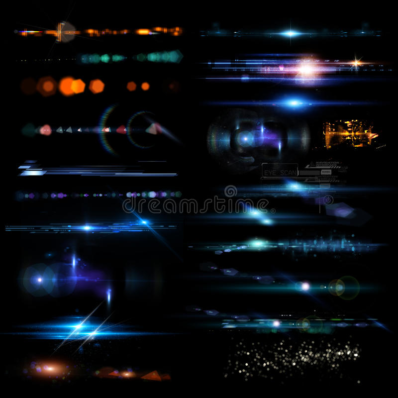 Optical flares. A collection of optical flares and and light illustrations stock images