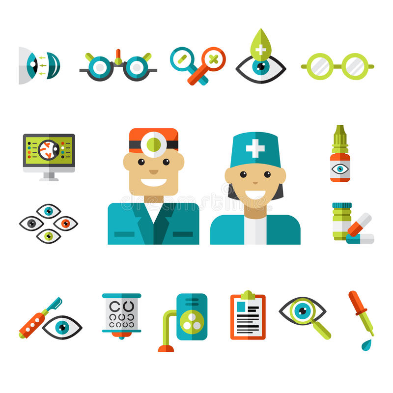 Optical icons, Ophthalmology Icons Set. Set of ophtalmology icons in flat style. Collection of vector illustrations vector illustration