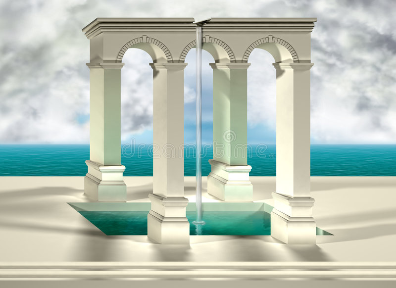 Optical illusion. Original optical illusion of an impossible water feature