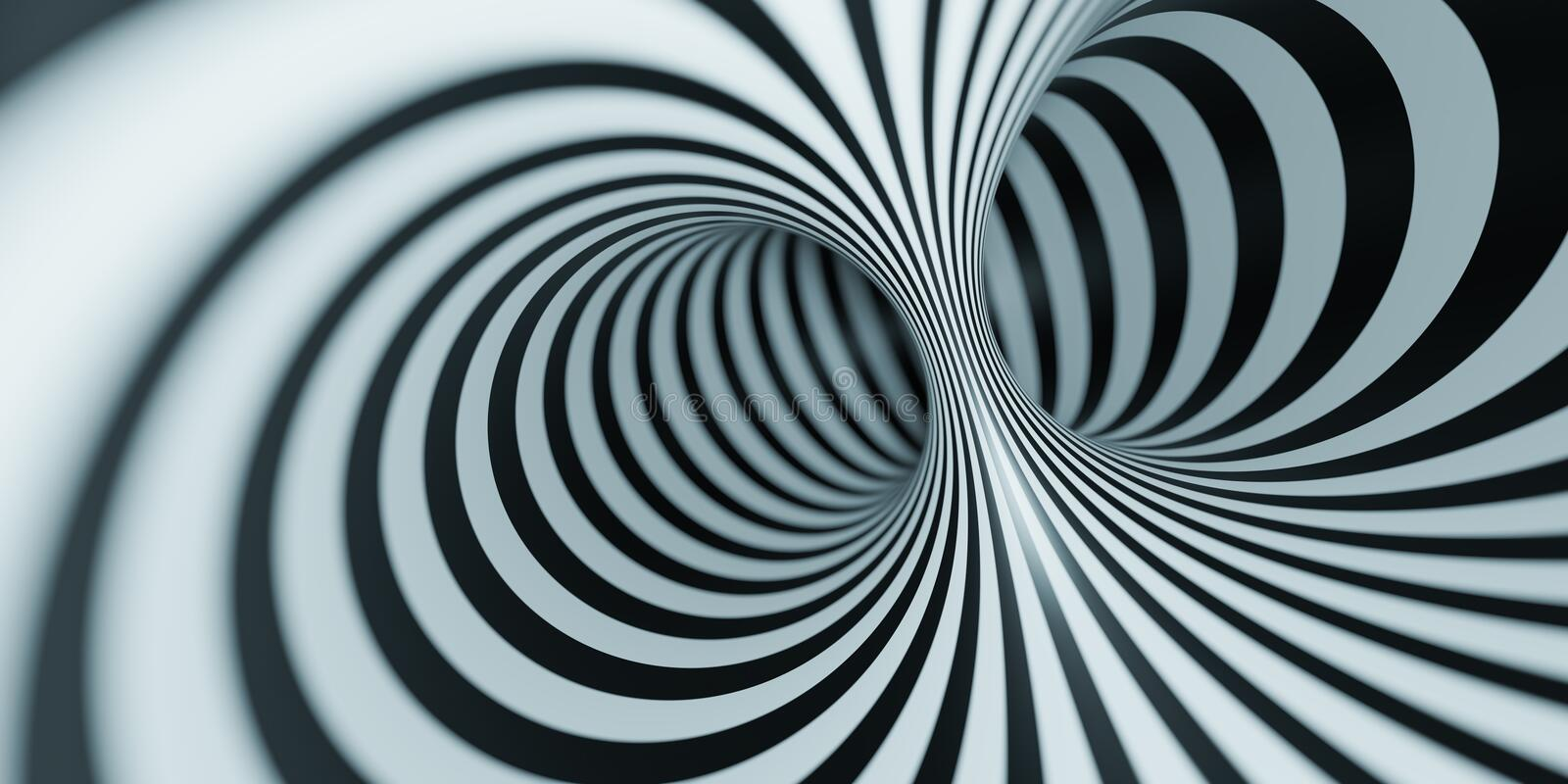 optical illusion black and white tunnel royalty free illustration