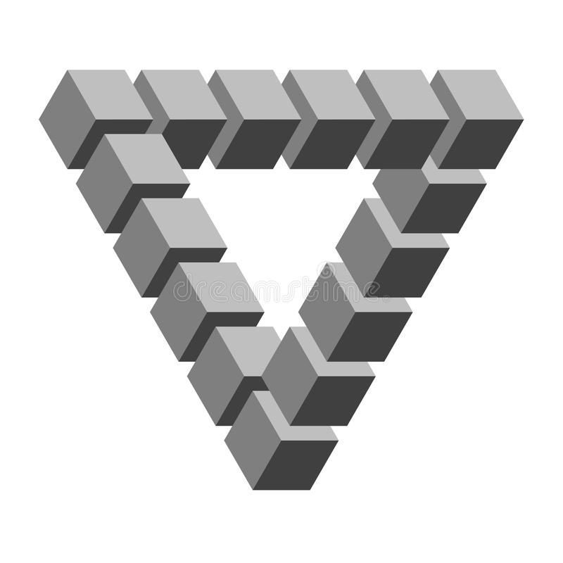 Optical illusion. Gray colored cubes showing triangular optical illusion royalty free illustration
