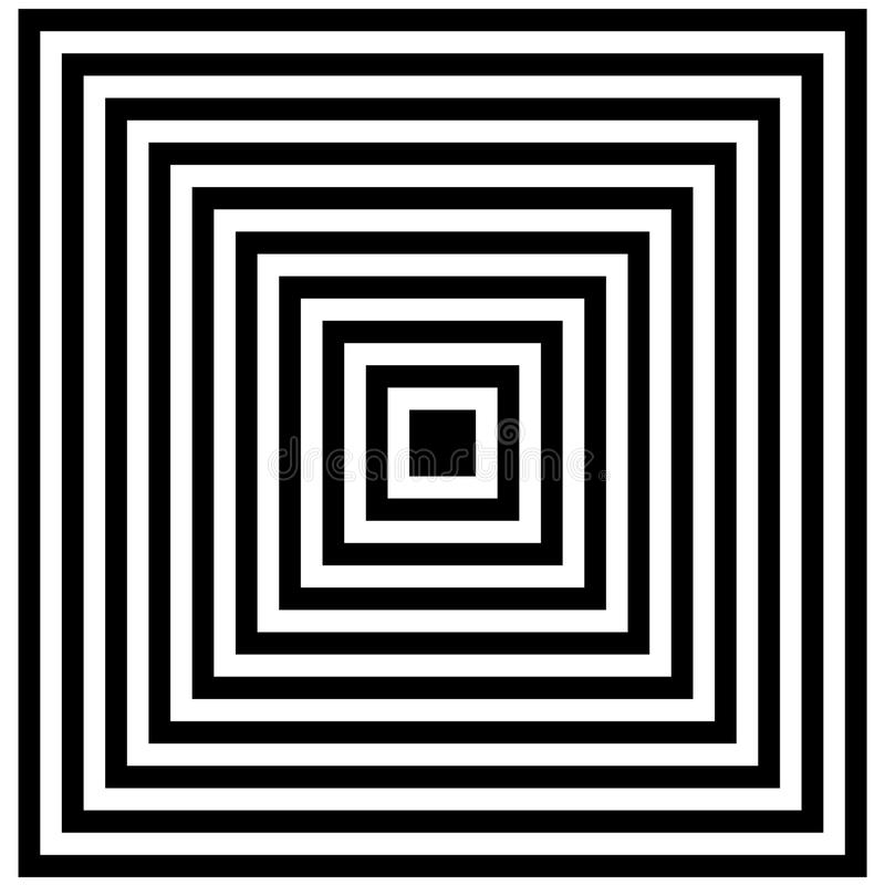 Optical illusion. Illusion art. Abstract twisted black and white background. Vector illustration royalty free illustration