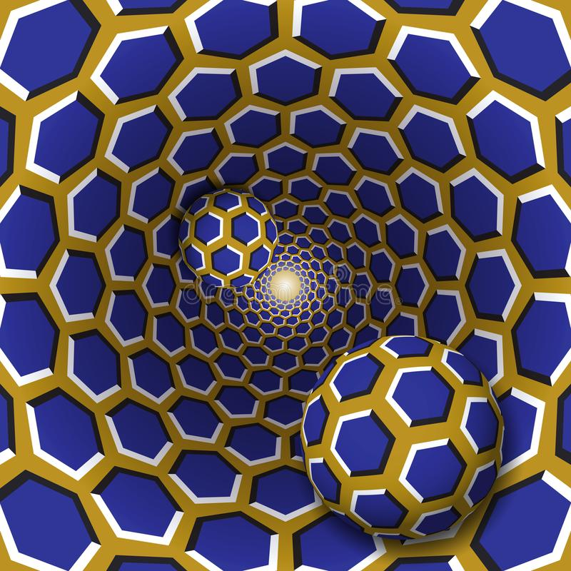 Free Optical Illusion Illustration. Two Balls With A Hexagons Pattern Are Moving On Rotating Blue Hexagons Golden Funnel Royalty Free Stock Image - 99876846