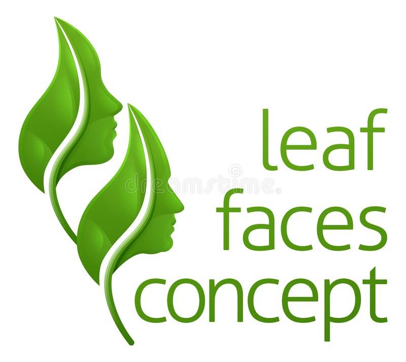 Optical Illusion Leaf Faces Concept royalty free illustration