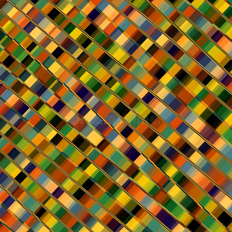 Optical Illusion Mosaic. Parallel Lines. Abstract Geometric Background Pattern. Colorful Diagonal Stripes. Decorative Stripes. Plaid Artwork. Artistic Colored stock illustration