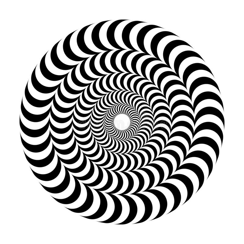 Free Optical Illusion Of Volume. Round Vector Isolated Black And White Pattern On A White Background. Royalty Free Stock Image - 102846766